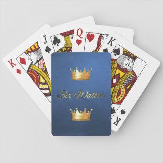 Gold & Black Monogram on Blue Basic Playing Cards