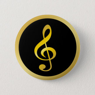 Gold Black Music Symbol Clef Notes Button