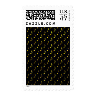 Gold Black Musical Notes Metallic Faux Foil Stamp