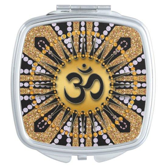 Gold Black Om Meditation Mandala Compact Mirror