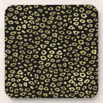 Gold Black Ombre Leopard Print Drink Coaster