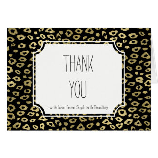 Gold Black Ombre Leopard Print Thank you Card