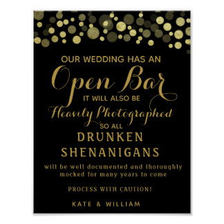 Gold & Black Open Bar wedding sign