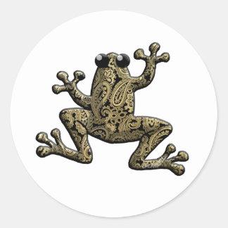 Gold Black Paisley Climbing Frog Classic Round Sticker