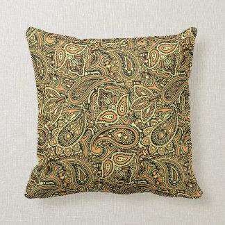 Gold & Black Paisley Throw Pillow