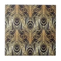 gold, black,peacock pattern,art nouveau,vintage, tile