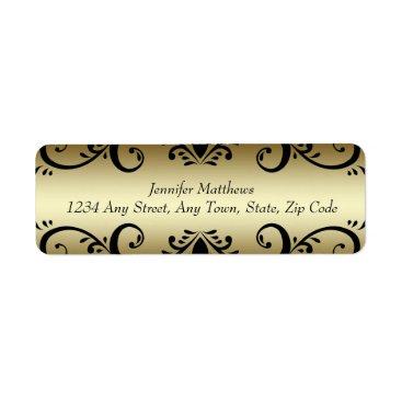 Professional Business Gold Black Personalized Address Labels Swirls