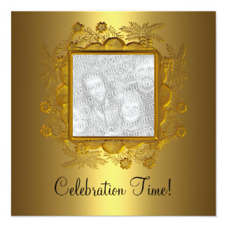 Gold Black Photo Frame 50th Birthday Party 2 Card