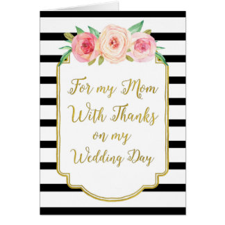 Gold Black Pink Floral Mom Wedding Day Thank You Card