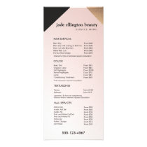 Gold, Black Pink Salon Spa Price List Service Menu
