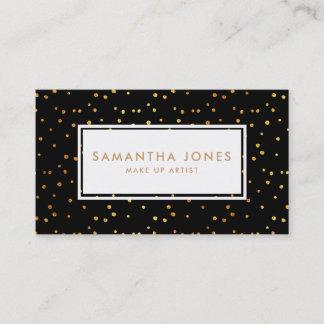 Gold Black Polka Dot Make Up Artist Business Cards