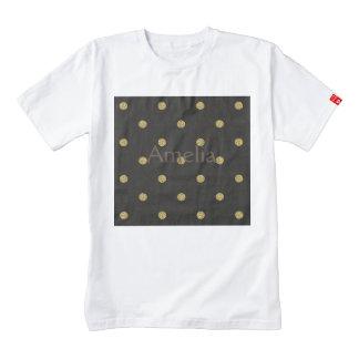 gold,black,polka dot,pattern,trendy,girly,cute,fun zazzle HEART T-Shirt