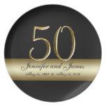 Gold Black Printed 50th Wedding Anniversary Plates