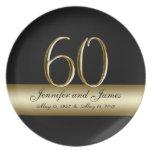 Gold Black Printed 60th Wedding Anniversary Plates