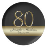 Gold Black Printed 80th Birthday Party Plates