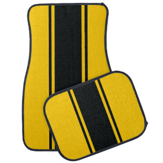 Gold & Black Racer Stripe Car Mats