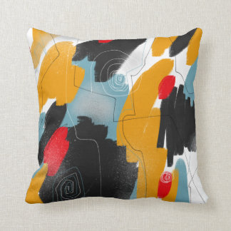 Gold Black Red Abstract Art Throw Pillows