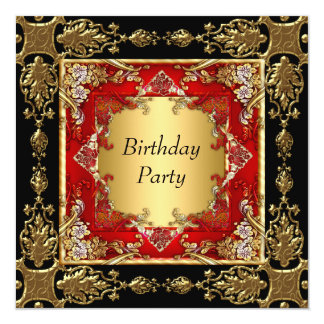 Gold Black Red Birthday Party red black gold Card
