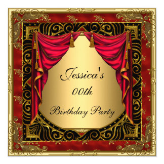 Gold Black Red retro Birthday Party 5.25x5.25 Square Paper Invitation Card