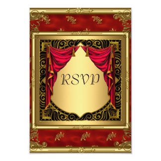 Gold Black Red retro Invitation Invitations