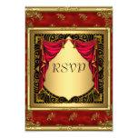 Gold Black Red retro Invitation Invitations