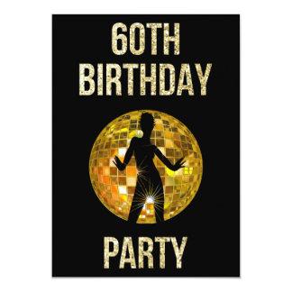 Gold & Black Retro Disco Glitter Ball 60th Party Card