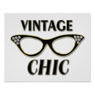 Gold & Black Retro Glasses Vintage Chic Bling Poster