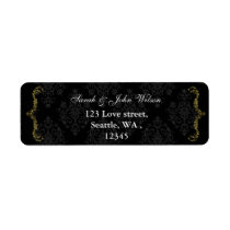 gold black return address label