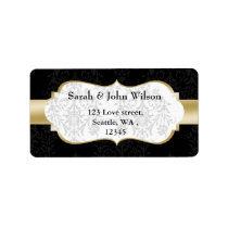 gold black  ,return address label