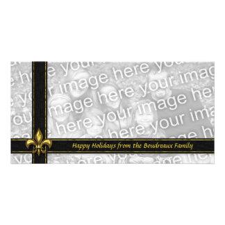 Gold Black Ribbon Fleur de Lis Photo Christmas Card