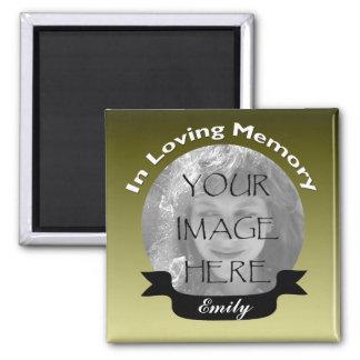 Gold Black ribbon Photo Memory Magnet