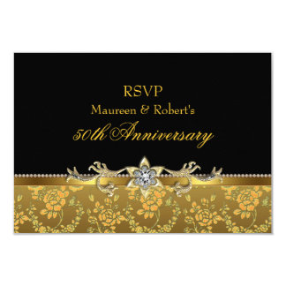 Gold & Black Rose 50th Anniversary RSVP Card