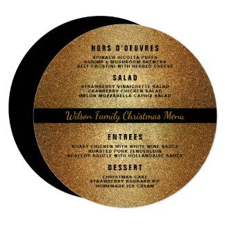 Gold Black Round Christmas Dinner Menu Template