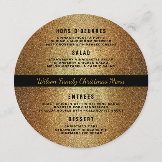 Gold Black Round Christmas Dinner Menu Template
