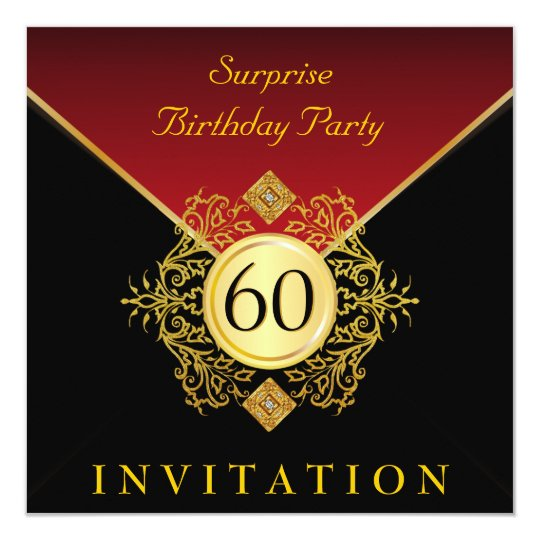 Gold Black Royal Red 60th Birthday Surprise Party Card