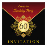 Gold Black Royal Red 60th Birthday Surprise Party Invite