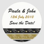 Gold & Black Save the Date Wedding Stickers