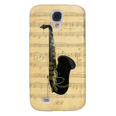 Gold Black Saxophone Sheet Music Galaxy S4 Galaxy S4 Cover at Zazzle