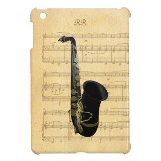 Gold Black Saxophone Sheet Music iPad Mini Case