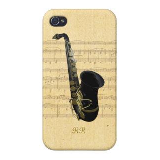 Gold Black Saxophone Sheet Music iPhone 4 Case