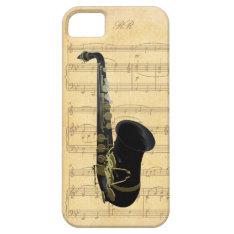 Gold Black Saxophone Sheet Music Iphone 5 Case at Zazzle