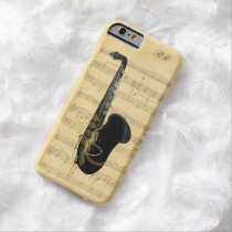 Gold Black Saxophone Sheet Music iPhone 6 Case at Zazzle