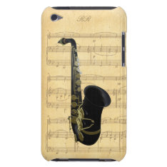 Gold Black Saxophone Sheet Music Ipod Touch 4g Ipod Touch Case at Zazzle