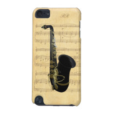 Gold Black Saxophone Sheet Music Ipod Touch 5g Ipod Touch 5g Case at Zazzle