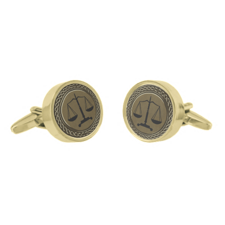 Gold Black Scales of Justice Gold Finish Cufflinks
