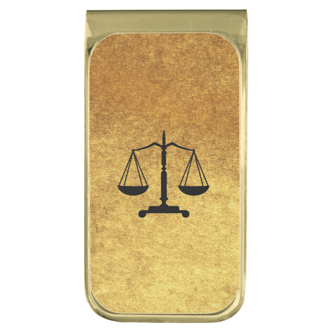 Gold Black Scales of Justice Money Clip