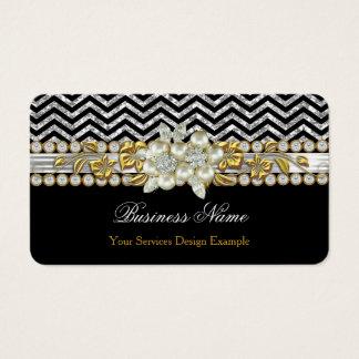 Gold Black Silver Chevron Diamond Pearl Floral Business Card