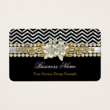 Professional Business Gold Black Silver Chevron Diamond Pearl Floral Business Card
