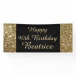 Gold/Black Sparkle 90th Birthday Party Banner