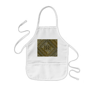 Gold Black Square Shapes Celtic Knotwork Pattern Aprons